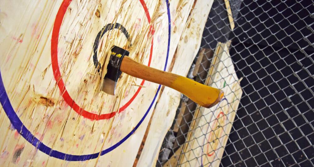 Axe throwing hitting the bullseye